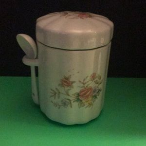 1988 FTDA Floral canister with spoon